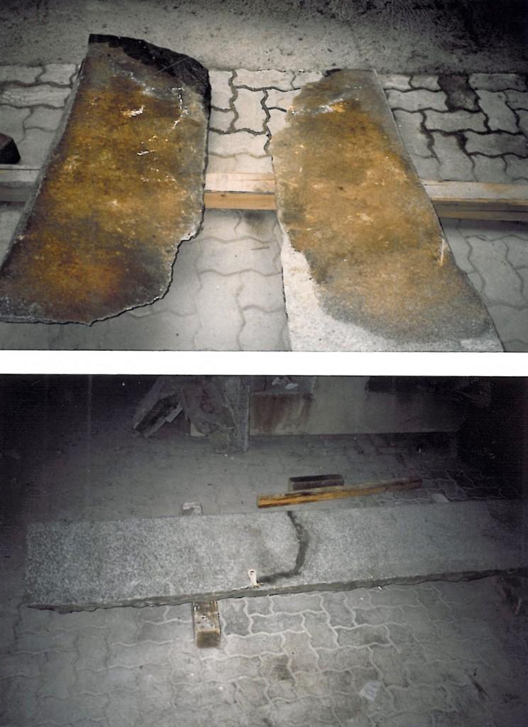 Castello di Racconigi, restauro dello scalone Nord Restauro di un gradino rotto lungo una sfaldatura