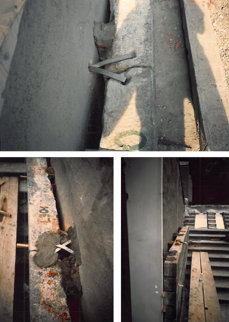 Castello di Racconigi, restauro dello scalone Nord Staffe per agganciare il rivestimento verticale al muro retrostante