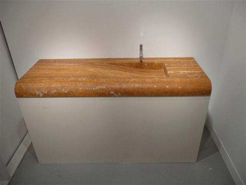 Lavabo massello in travertino dorato antico stuccato fluo
